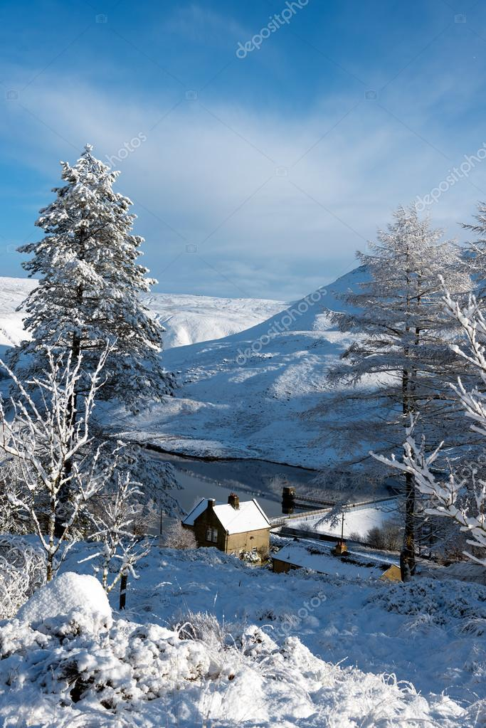 Bristish countryside covered in white snow. Peak distric, UK