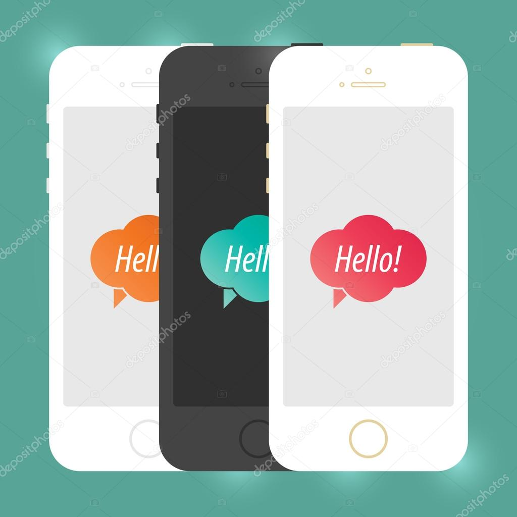 IPhone Style Isolated On White. Isolated Creative Cellphone. Vector EPS10 Concept Illustration Design