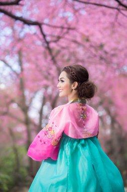 Hanbok: the traditional Korean dress and beautiful Asian girl with sakura