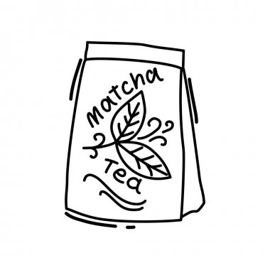 Tea bag in outline style on a white background. Cartoon. Icon. Vector illustration. icon