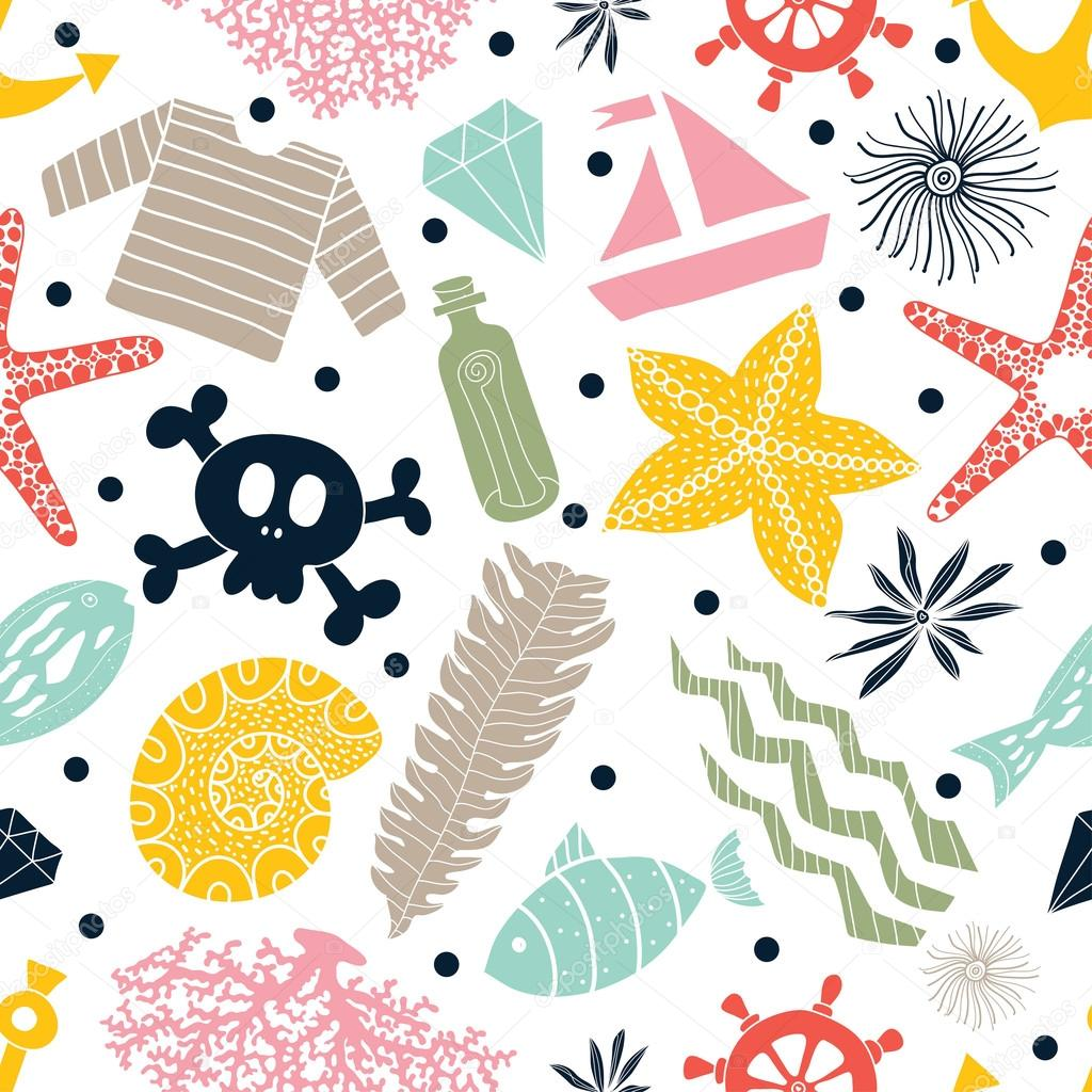 seamless pattern of sea life.