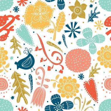 Cute pattern with flowers and birds