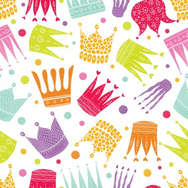Colorful seamless pattern with crowns