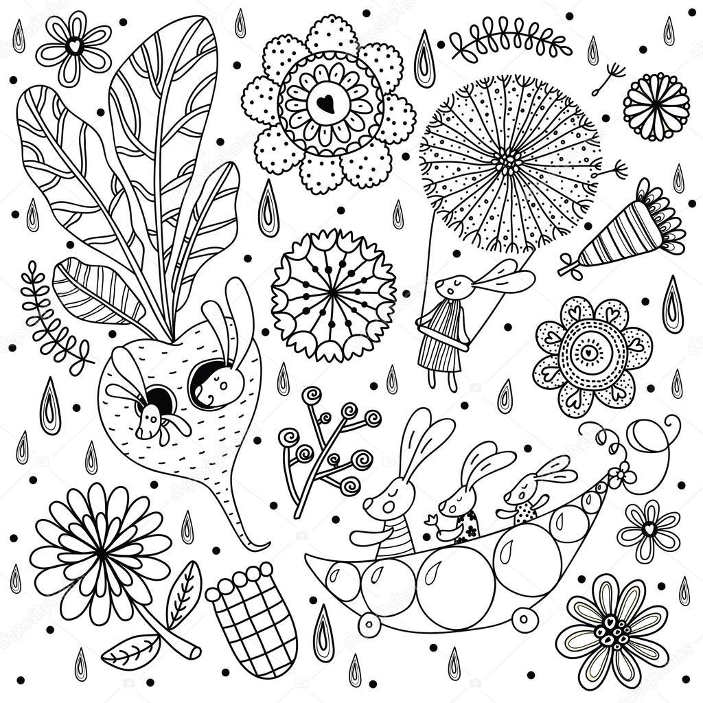 Niedlichen Hasen und Blumen — Stockvektor © vyazovskaya #122765070