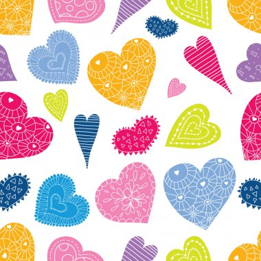 Colorful hearts seamless pattern background clip art vector
