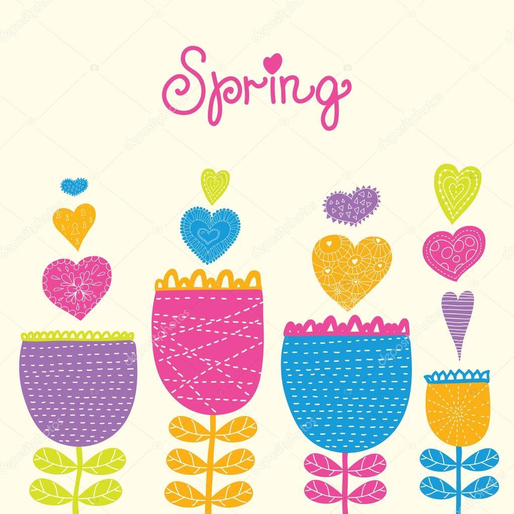 Cartoon Spring Flowers Stock Vector Vyazovskaya 66483561