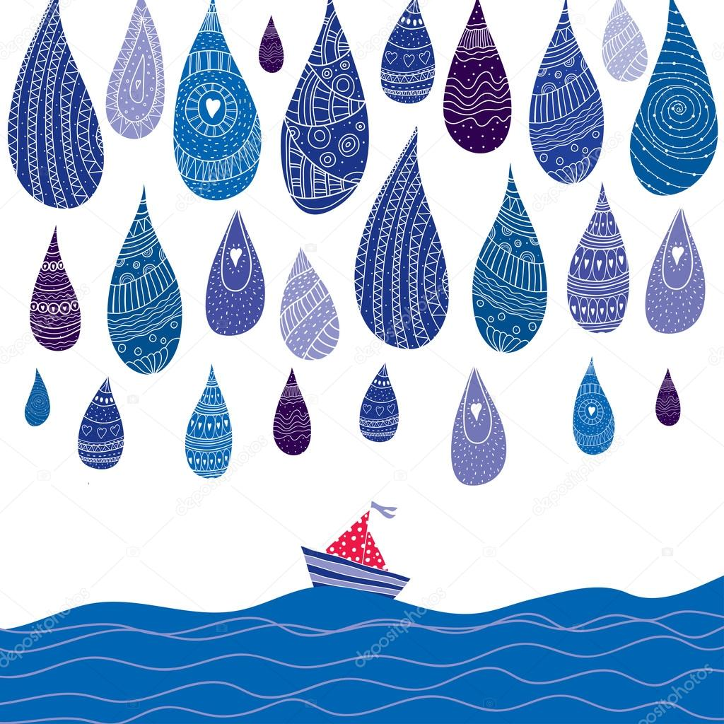 Sailing boat and rain.