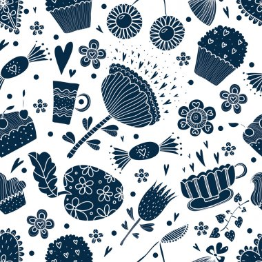 Pattern with sweets and flowers.