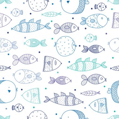 pattern with colorful fishes