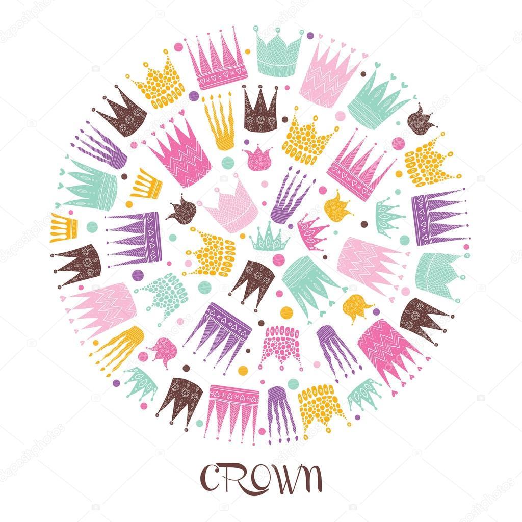 王冠かわいいポストカード ストックベクター Vyazovskaya 81654918