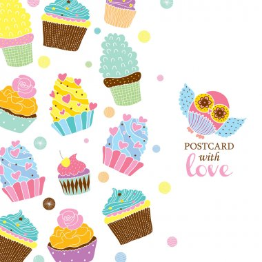Postcard with cupcakes and owl
