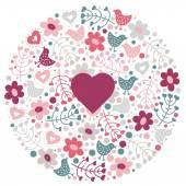 vzorek s roztomilé ptáky a květiny.