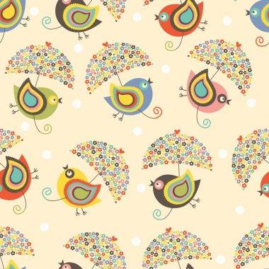 Birds fly with floral umbrellas