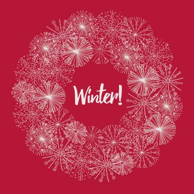 Christmas wreath  of snowflakes.