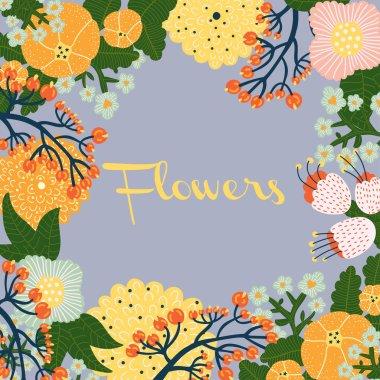 Colorful flowers postcard