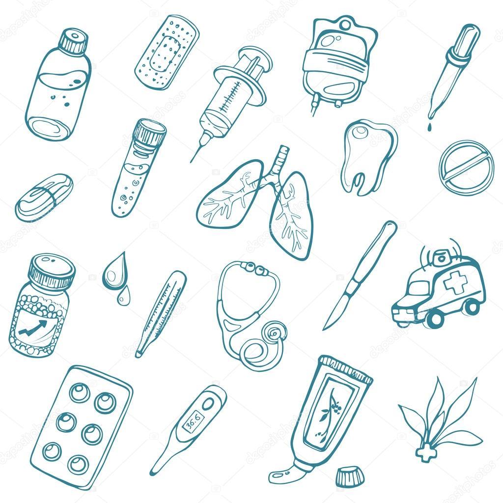 Diseño para colorear páginas para niños y adultos en la medicina de ...