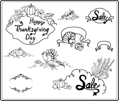 Thanksgiving Day in Sketch Style