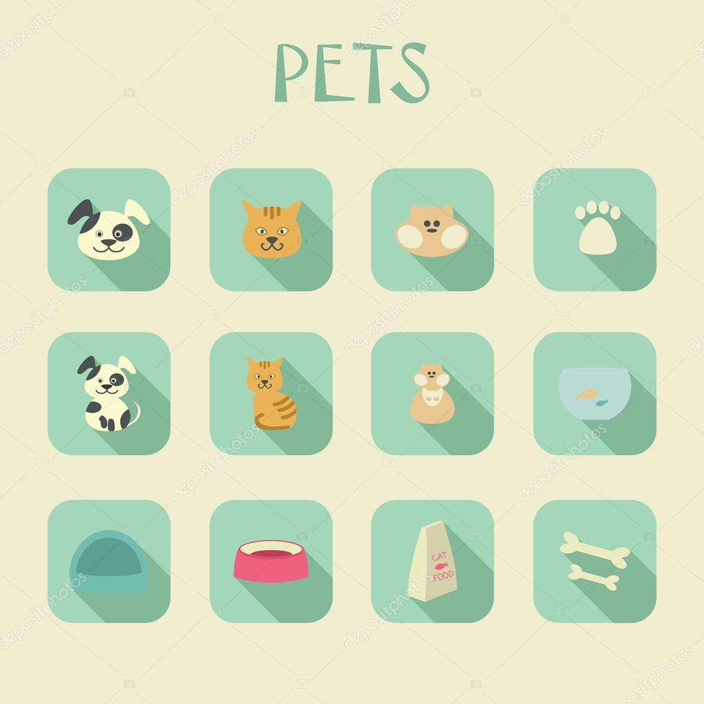 Icone degli animali domestici gatto cane criceto cibo for Piani domestici su ordinazione arizona
