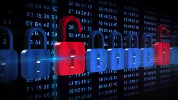 Abstraktní bezpečnostní koncepce - posunutá série visacích zámků před černým pozadím s trvale se měnícími hexadecimálními číselnými kódy v modré barvě - kybernetická internetová technologie a ochrana