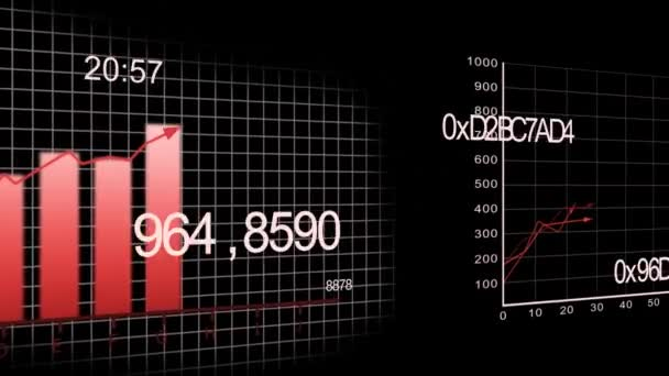 Growing charts animation on black BG -red-