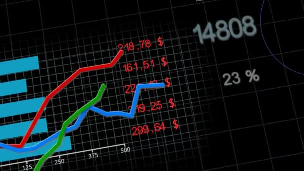 Animation of growing charts on black background 2