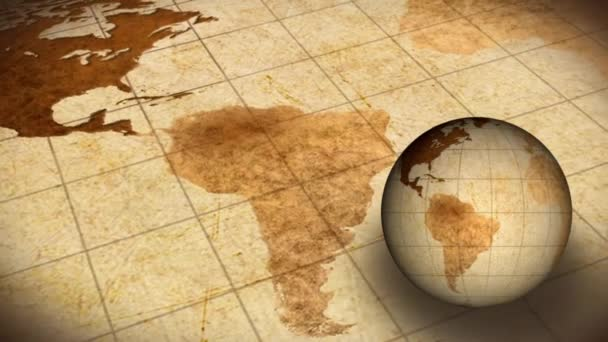 Vintage rotierende Nerkugel und Karte der Welt Hintergrund Animation