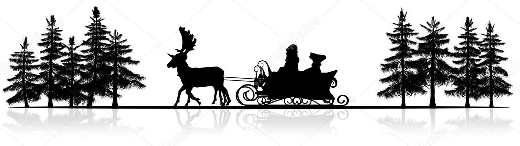 christmas panorama santa claus sleigh reindeers trees silhouette with reflection photo by bestofgreenscreen - Santa Claus And Reindeers