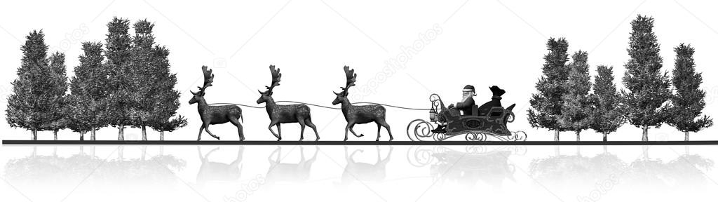 weihnachten weihnachtsmann schlitten rendeers b ume panorama schwarz wei mit reflektion. Black Bedroom Furniture Sets. Home Design Ideas