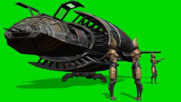 Aliens in front of her spaceship after landing - green screen
