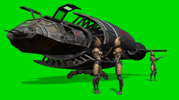 Mimozemšťané před její kosmické lodi po přistání - zelená obrazovka