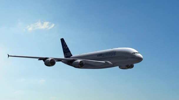 Airbus A-380 in flight - closeups tracking shot