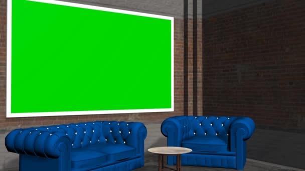 Virtuális stúdió háttere zöld képernyő fal animáció