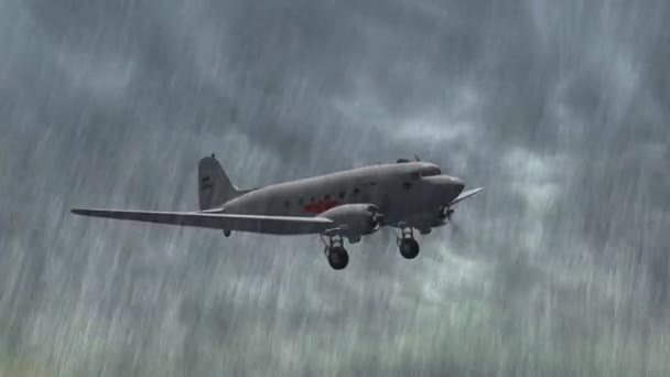 Airplane DC 3 flight in storm and rain - close up