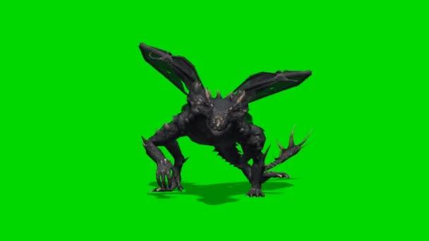 Dragon Creature walks at camera - green screen