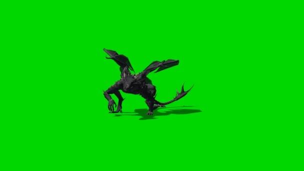 Dragon tvor chodí na fotoaparát - zelená obrazovka
