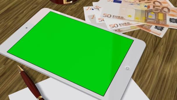 Tablet Pc Pad Green Screen pro reklamní prezentaci - sledování snímku nad Tablet s 50 Euro bankovky