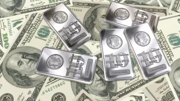 Dolly shot across 100 Dollar bills and silver bars - Money And Financials
