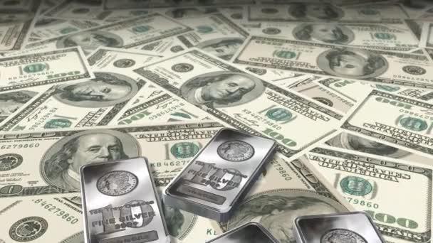 Dolly lövés 100 dollár számlák és ezüst rúd - pénz és pénzügy