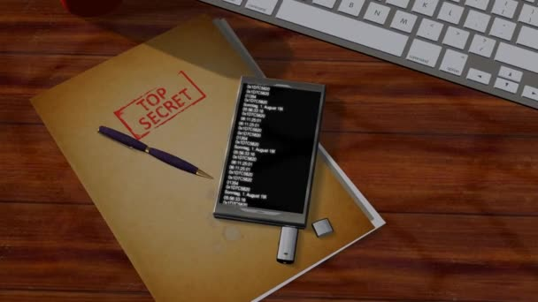 Espionage program scans smartphone with Top Secret Files - tracking shot