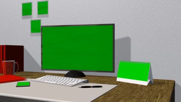 Office work place with green screen monitor, calendar, smartphone, pictures