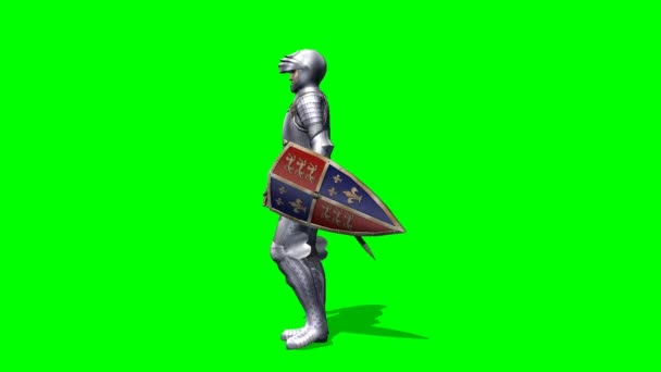 Armed Knight walks animation - green screen