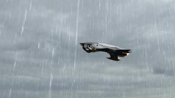 Alien UFO Spacecraft fly in stormclouds with lightning and rain