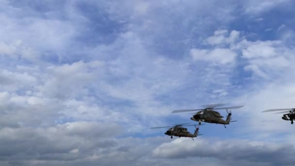 Black Hawk Helicopter fly over in Formation