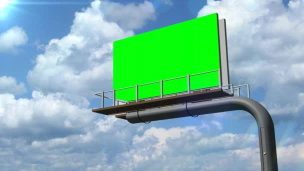 Illboard with moving clouds - green screen