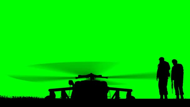 Black Hawk Helicopter Rising on greenscreen