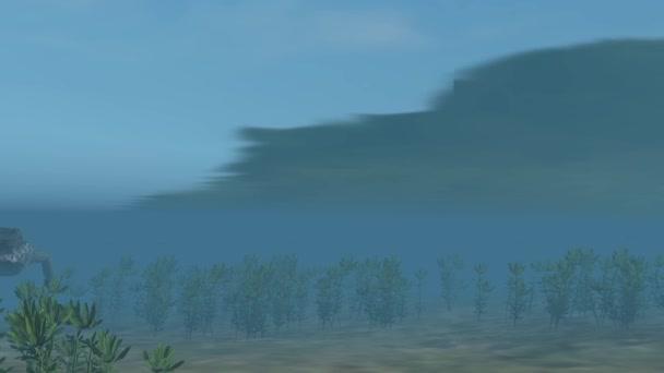 Krokodil schwimmt unter Wasser