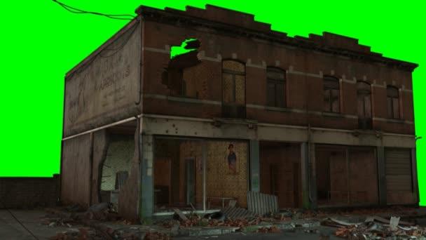 Außenseite des alten eingestürzten Hauses