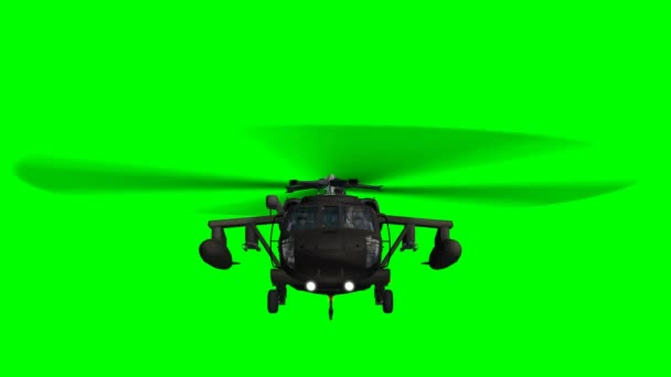 Military helicopter flying green background
