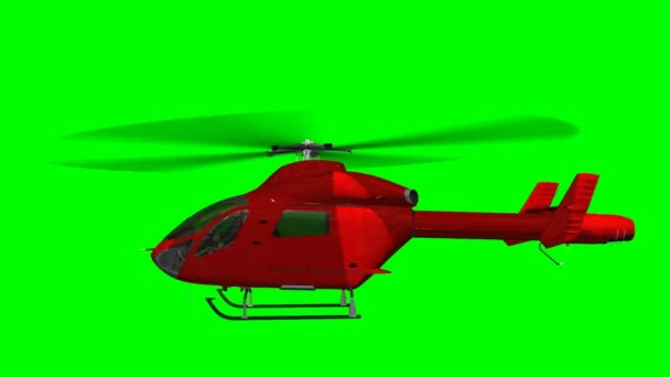 Red helicopter eurocopter in fly - green screen