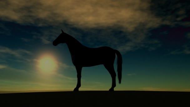 Silueta koně vzestupu v západu slunce